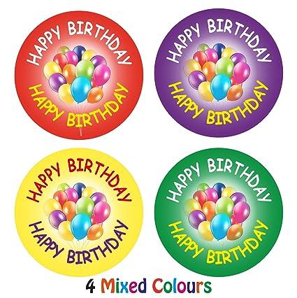 144 x Feliz cumpleaños pegatinas etiquetas para cumpleaños ...