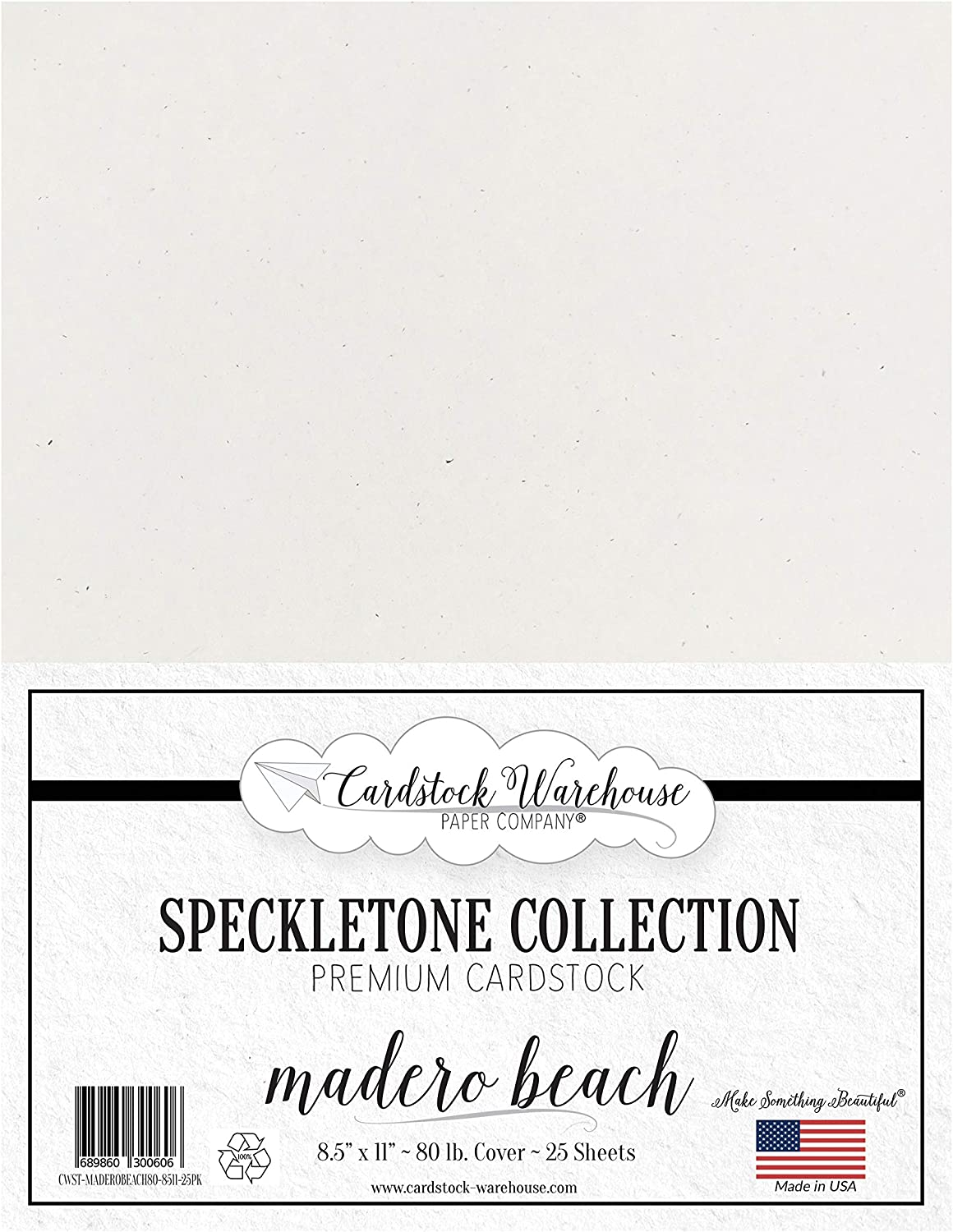 Madero Beach Speckletone 100% Recycled Cardstock Paper - 8.5 x 11 inch - PREMIUM 80 LB. COVER - 25 Sheets