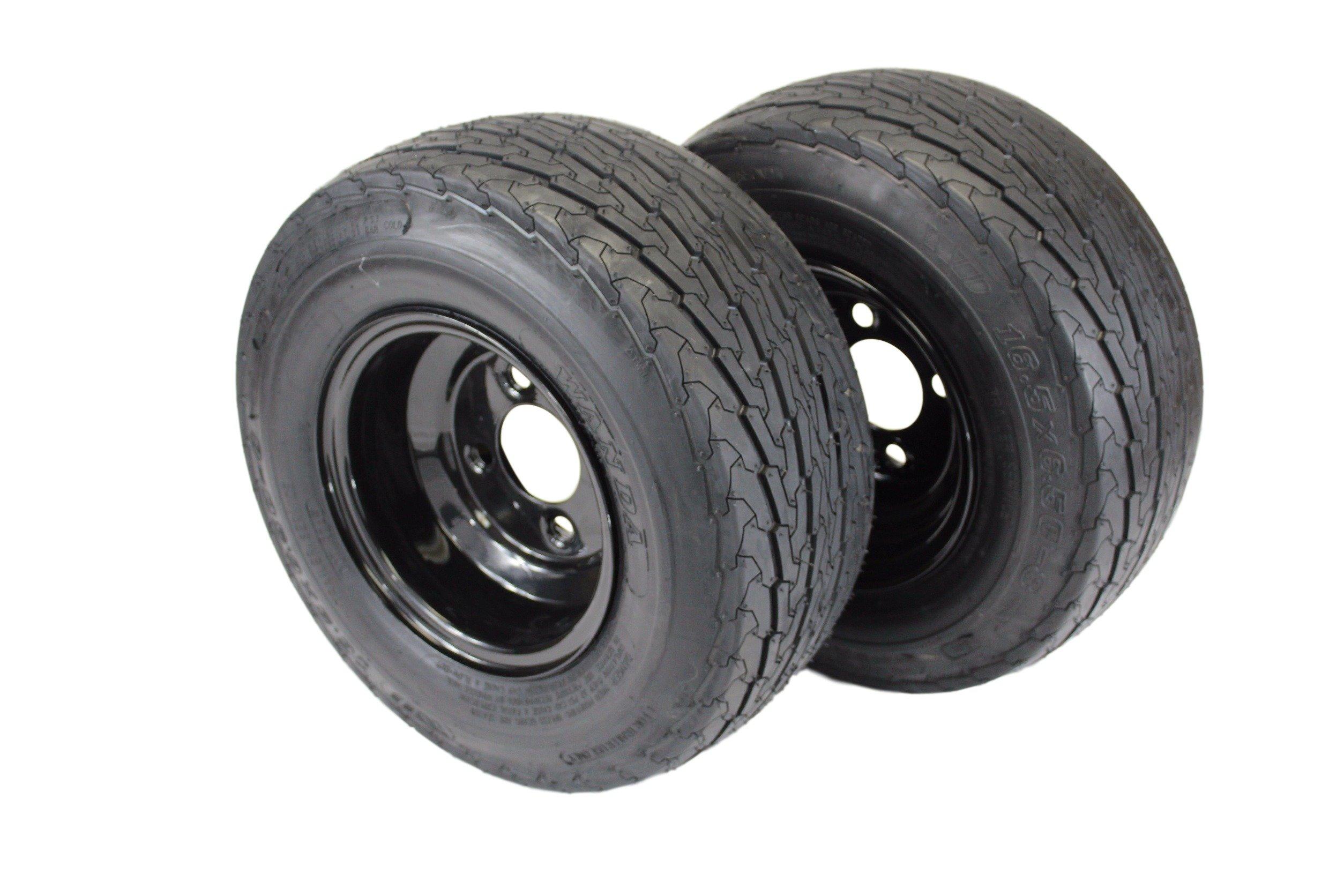 (Set of 2) 16.5x6.50-8 LRB 4 Ply Trailer Tires on 4 Lug Glossy Black Steel Wheel