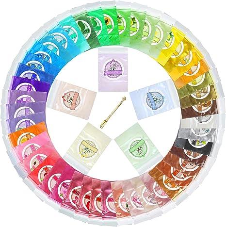 Pigmento de Resina Epoxi - 50 Colores Mica en polvo Tinte de Resina Epoxi - Colorante Epoxy Resin de Grado Cosmético para Limo, Fabricación de Jabón ...