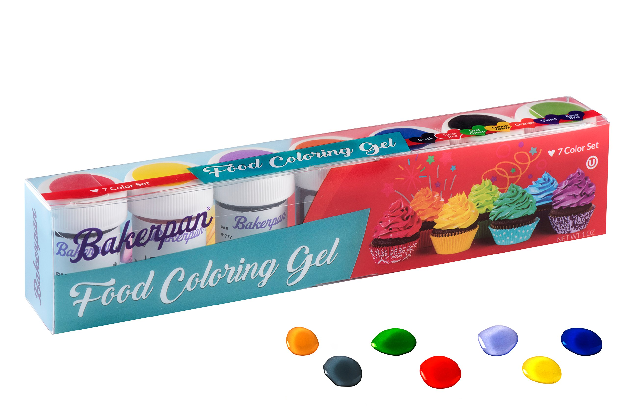 Bakerpan Food Coloring Gel Concentrate 1 oz Jars, For Icing, Cakes, Set of 7 Colors by Bakerpan