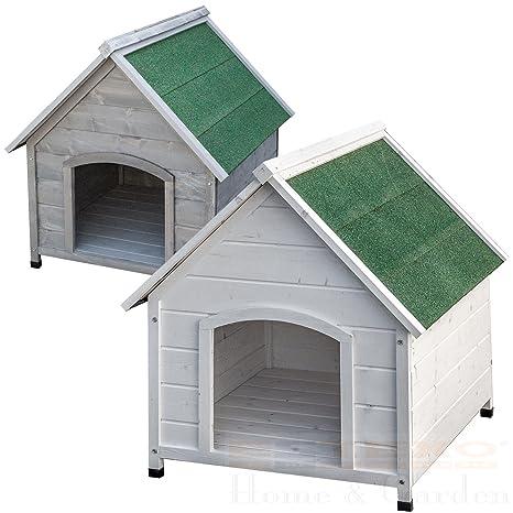 Caseta XXL de color blanco o gris, para perros, de madera maciza, resistente