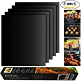 Atiyoc BBQ Grill Mat, Non-stick and Heat Resistant Mats for Charcoal, Electric and Gas Grill FDA-Approved, PFOA Free (5 Pack)