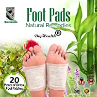 20 Pcs Detox Foot Patches, DigHealth Bamboo Foot Pads to Remove Body Toxins, Detoxify Toxin Pain Relief, Feet Pads Detox for Weight Loss and Stress Relief, Body Cleanse Patch, Effective Foot Care