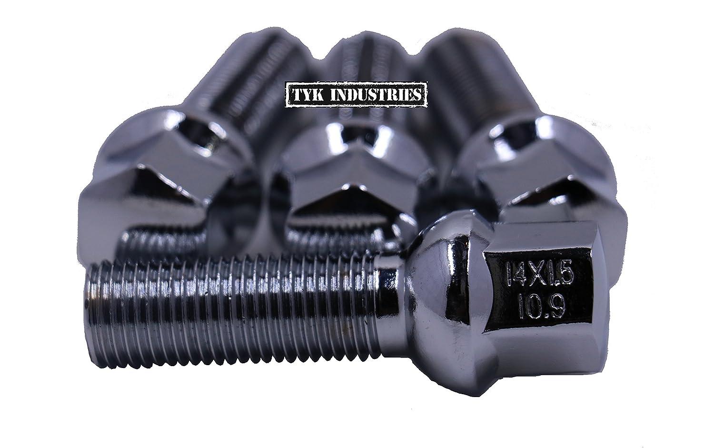 20 X Sintonizador M14X1.5 Plata Aleación Pernos De Rueda Rosca 33mm para Mercedes Clase E