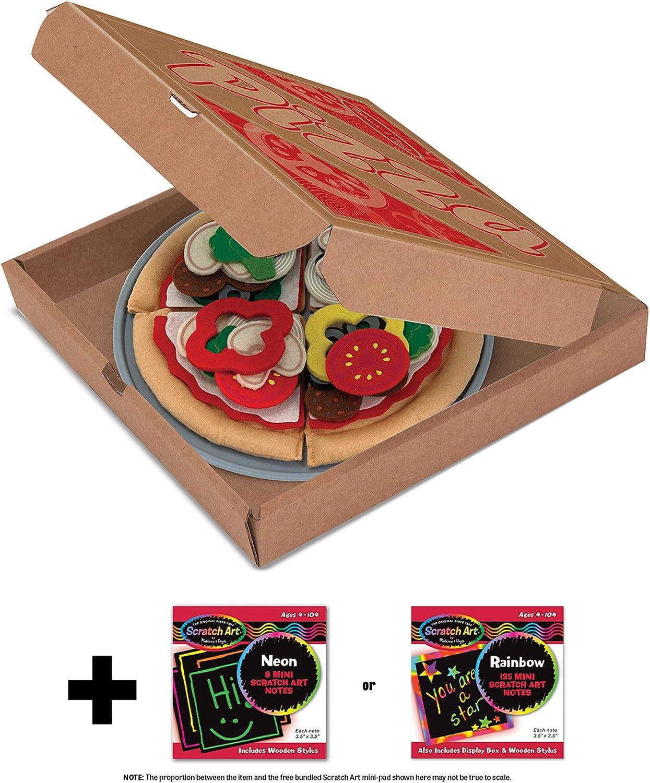 Pizza: Felt Play Food Set & 1 Melissa & Doug Scratch Art Mini-Pad Bundle (03974)