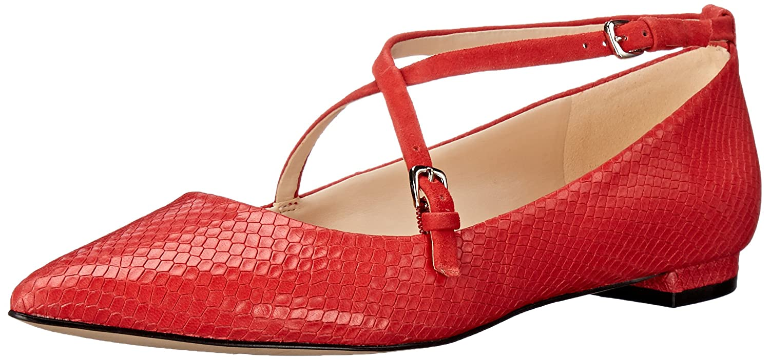 Nine West Women's Anastagia Leather Pointed Toe Flat B01HDIRR5M 8 B(M) US|Red