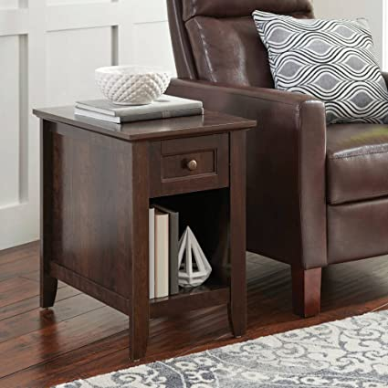 Attirant Indoor Parker Recliner Sofa Side Table, Estate Toffee Finish