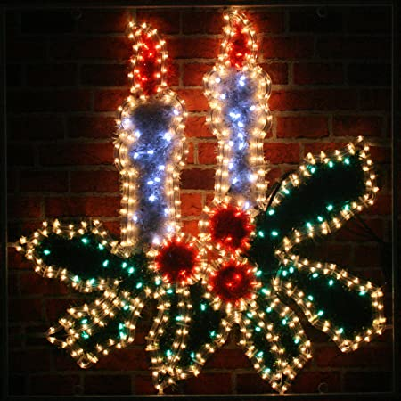 giant pre lit christmas candles holly led rope lights silhouette with tinsel finish