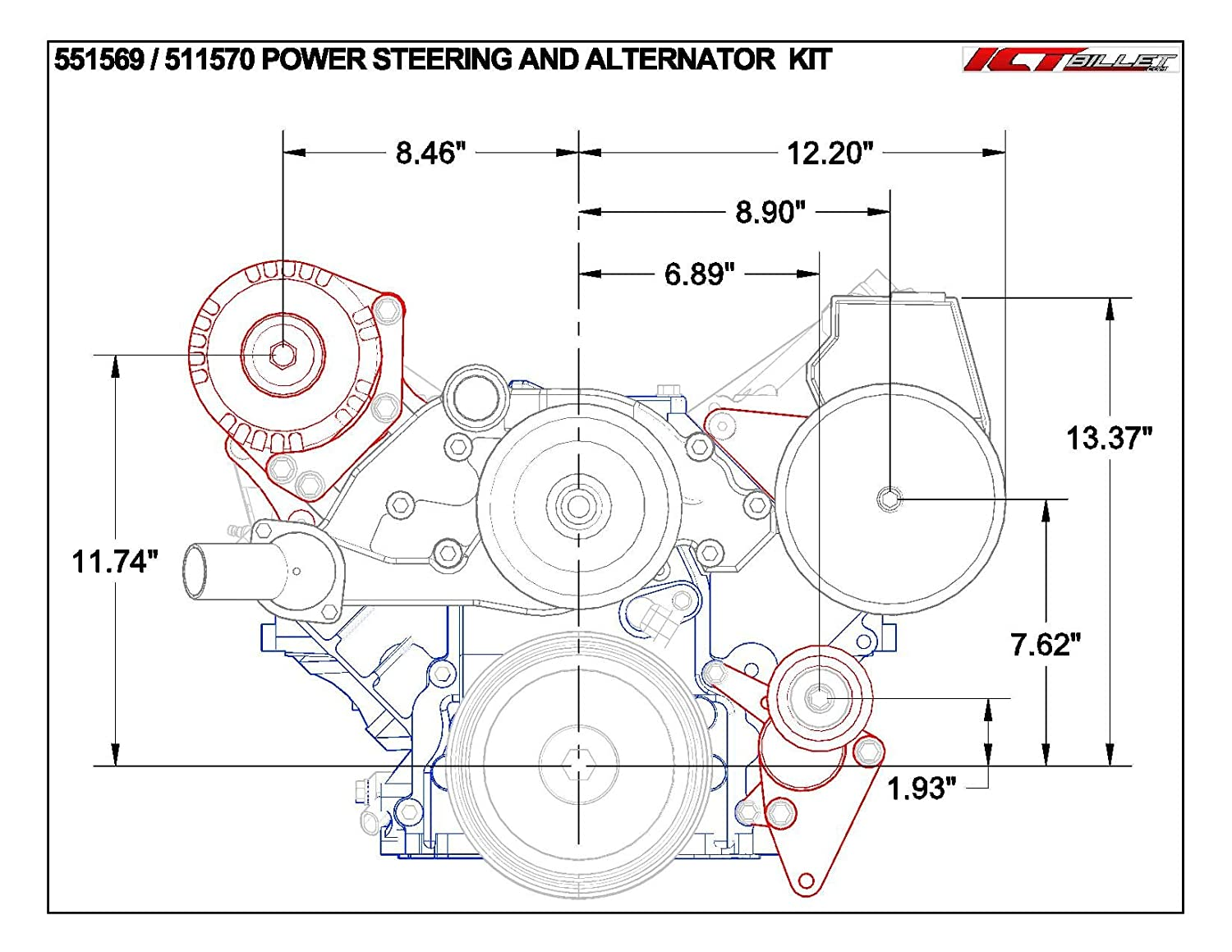 48l 53l 60l Ls Truck Alternator Relocation Bracket Lq4 6 0 Engine Diagram Top Mount Passenger Side Lsx Ls3 551526 3 Automotive