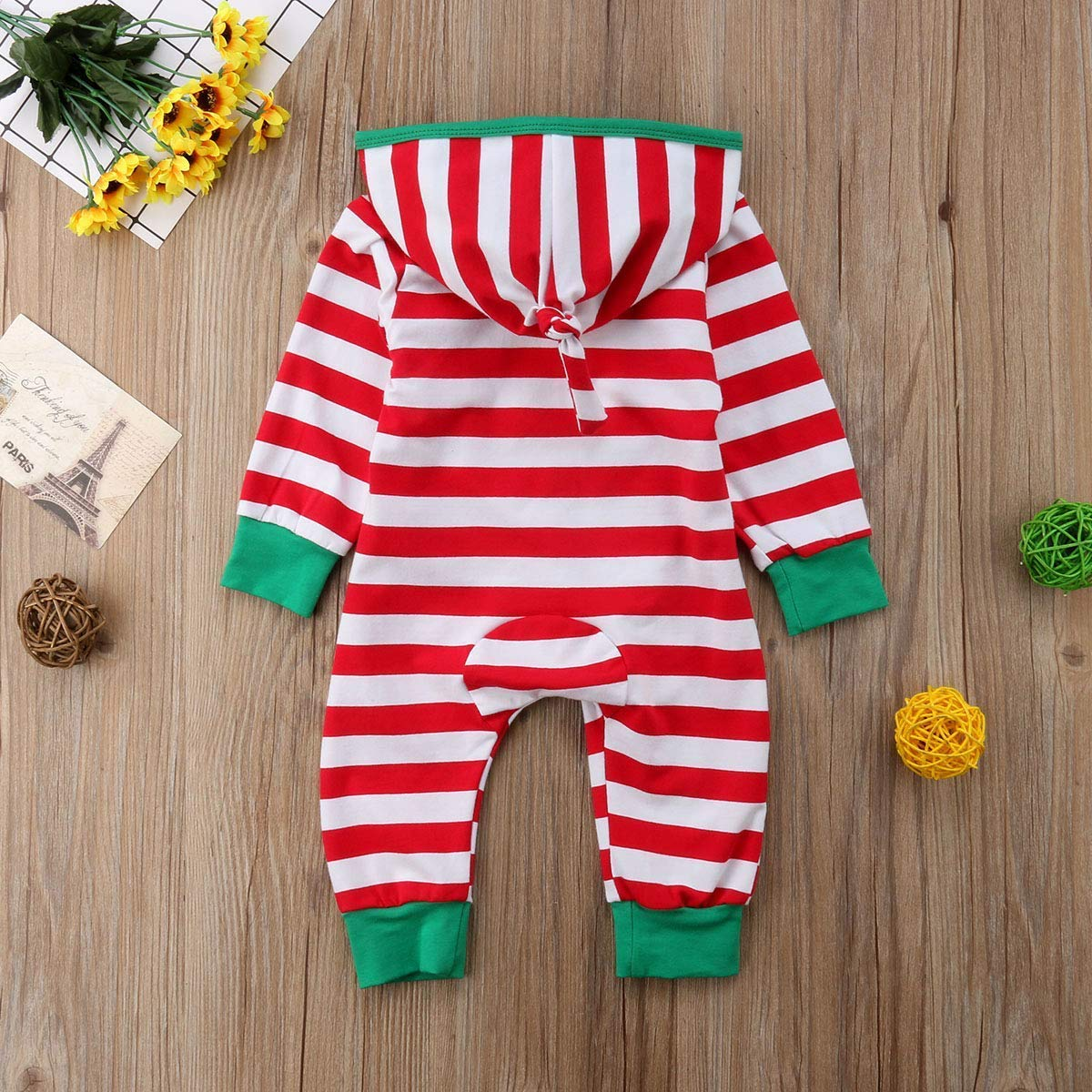 77d90b59d ... GSHOOTS Baby Boy Girls Christmas Outfit Family Pajamas Striped Zipper  Hooded Romper Jumpsuit Newborn Infant Clothes ...