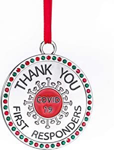 Klikel Christmas Ornament 2020 - Covid Ornament - Silver Christmas Ornament - Thank You Covid 19 First Responders Christmas Ornament - Healthcare Worker Appreciation Ornament - Colored Stones