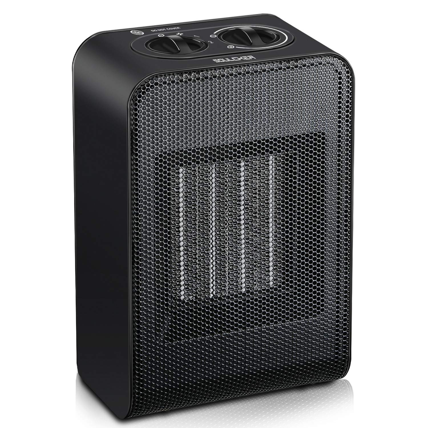 Soulcker Space Heater, Portable Heater With 750W 1500W Power Setting, 2 Seconds Heat-up, Tip-over and Over-heat Protection, Ceramic Small Space Heater for Office, Home, Indoor Use – Black