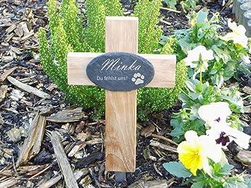 Kleines Grabkreuz Für Tiere Mit Graviertem Schieferschild Hier