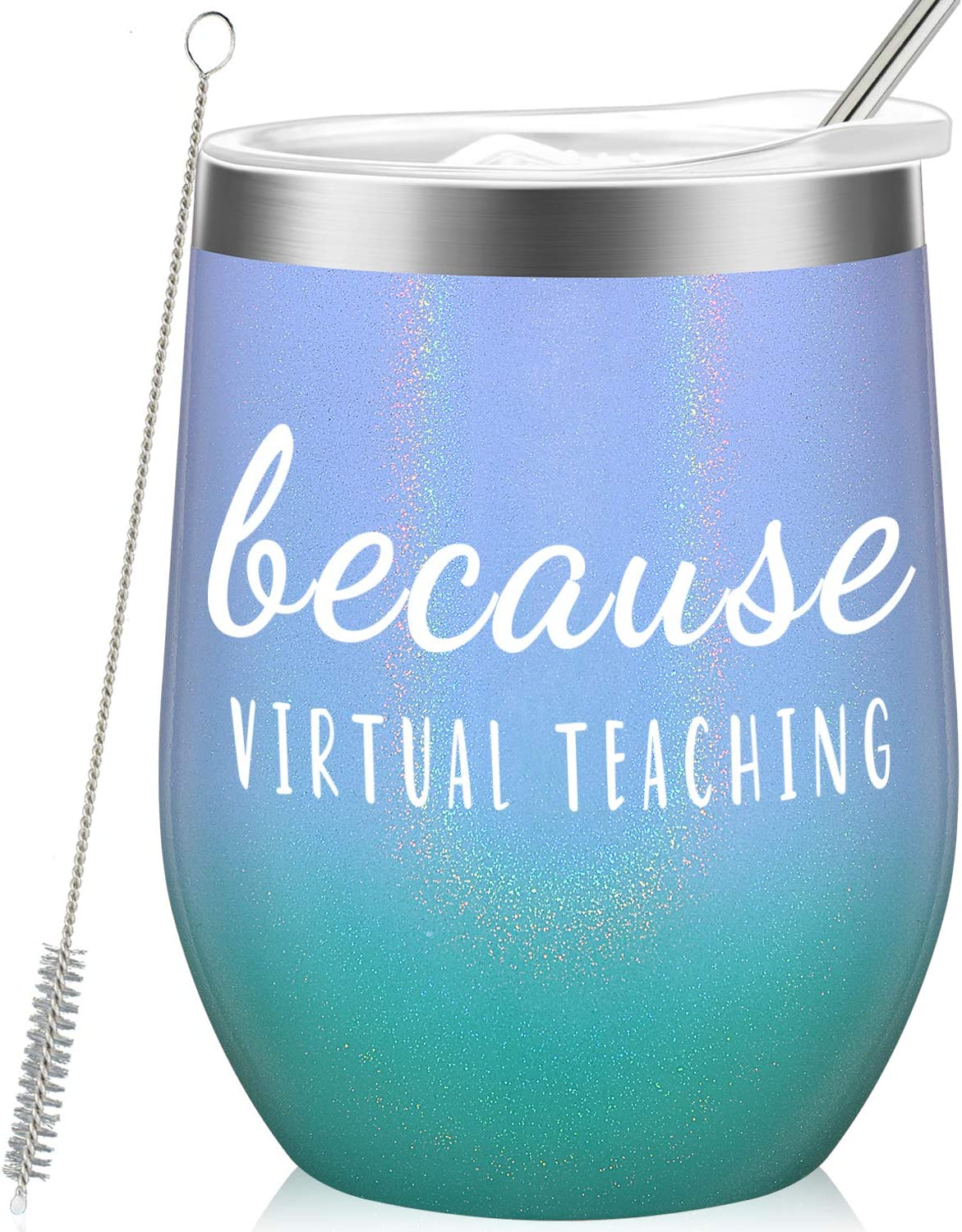 Because Virtual Teaching - Funny Teacher Appreciation or Birthday Gift Idea for Her, Him - Online Learning Gifts for Professor, Teaching Assistant, Instructor - 12oz Wine Tumbler Glitter Mermaid