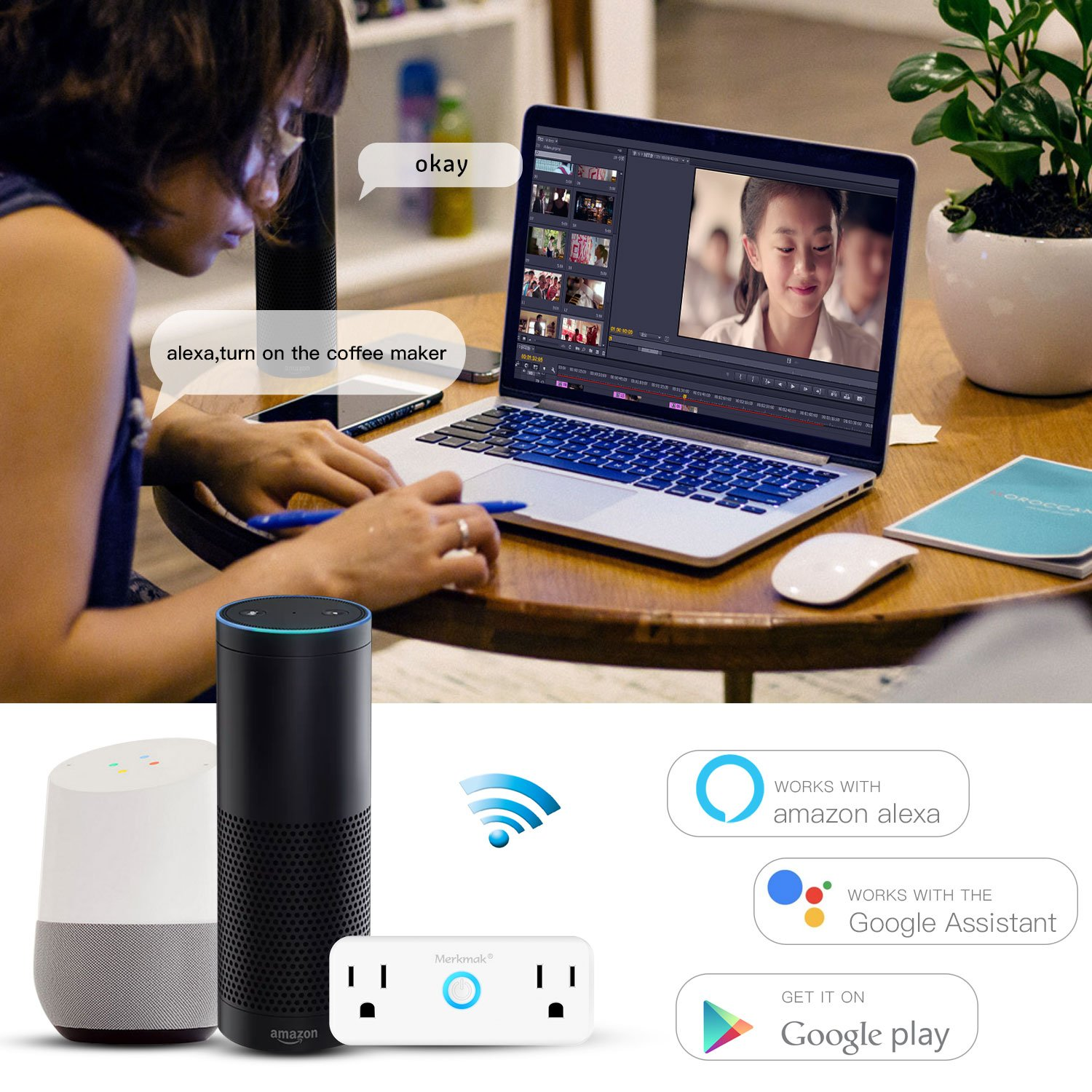 Smart Plug ,Merkmak Wi-Fi Mini Dual Outlets Smart Sockets 15A Timing Switch with Energy Monitoring Compatible with Amazon Alexa and IFTTT Google Assistant No Hub Required(Android/IOS)