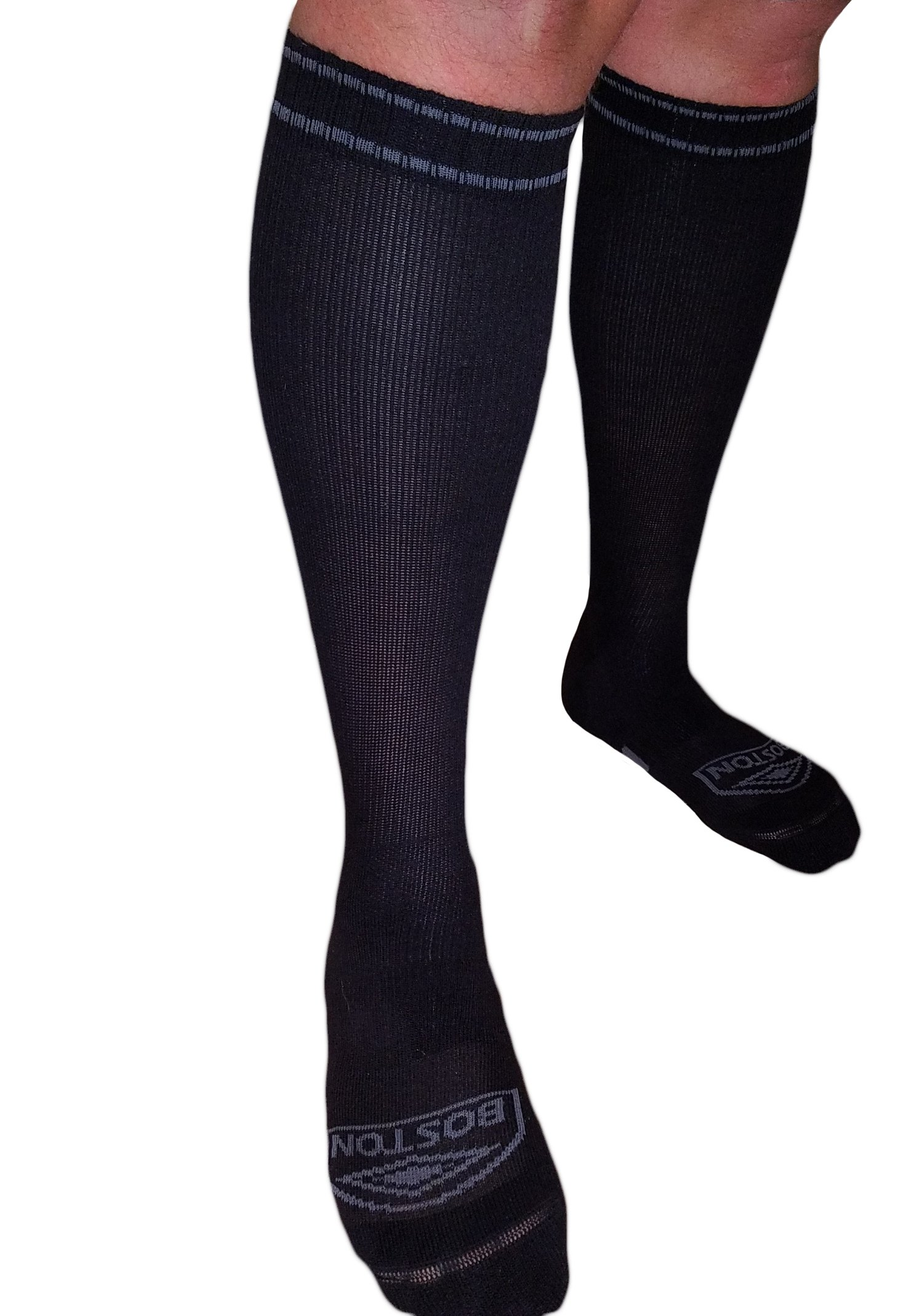 MICODEMA Compression Socks Large Legs - Big Foot and Leg with Ankle and Arch Support | Firm Gradient Pressure 28 mmHg, Knee High Plus Size Premium Hosiery | Black X-Large