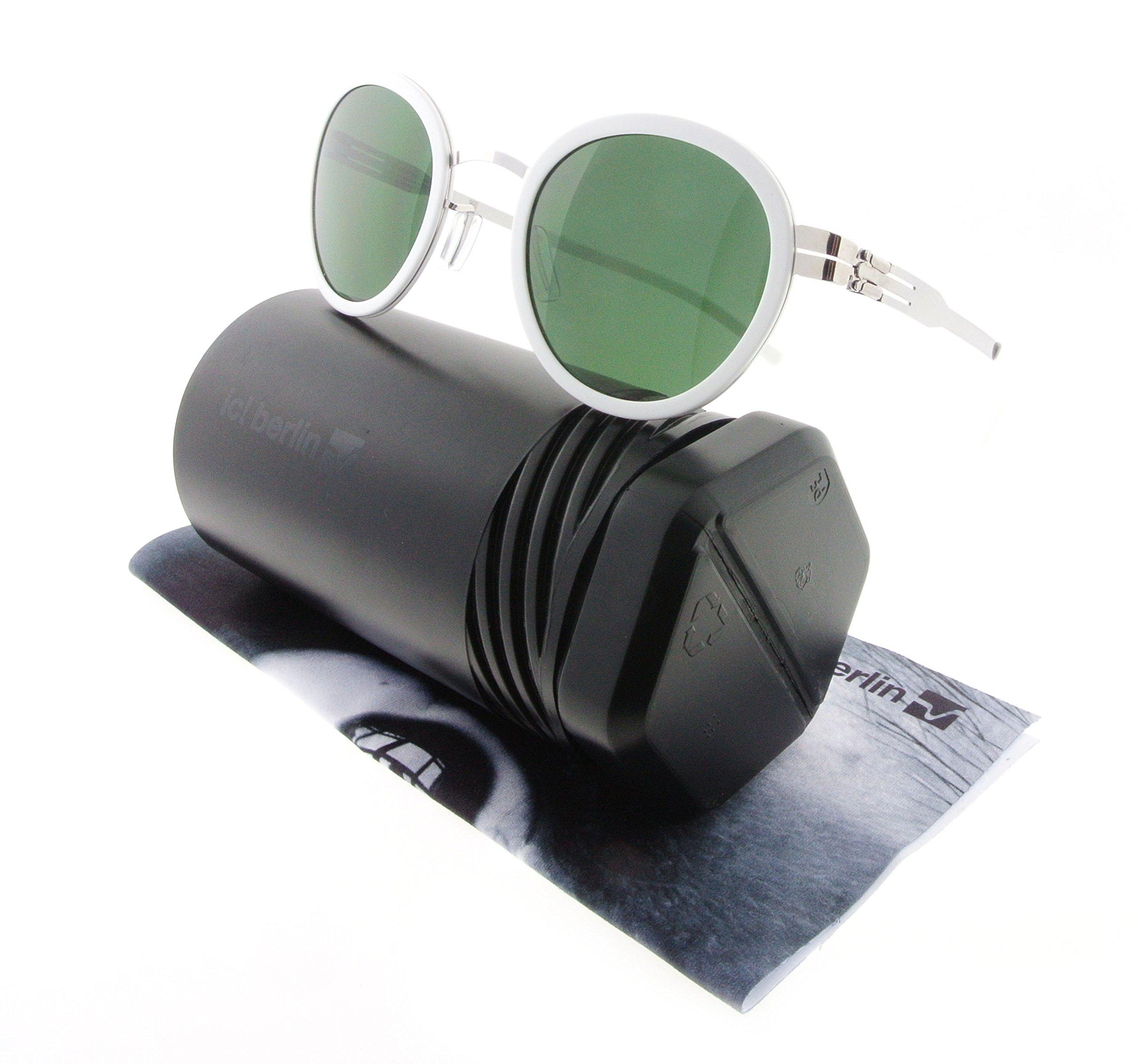ic! Berlin Sunglasses S42 Wedding Chrome & White with Green Nylon Lenses