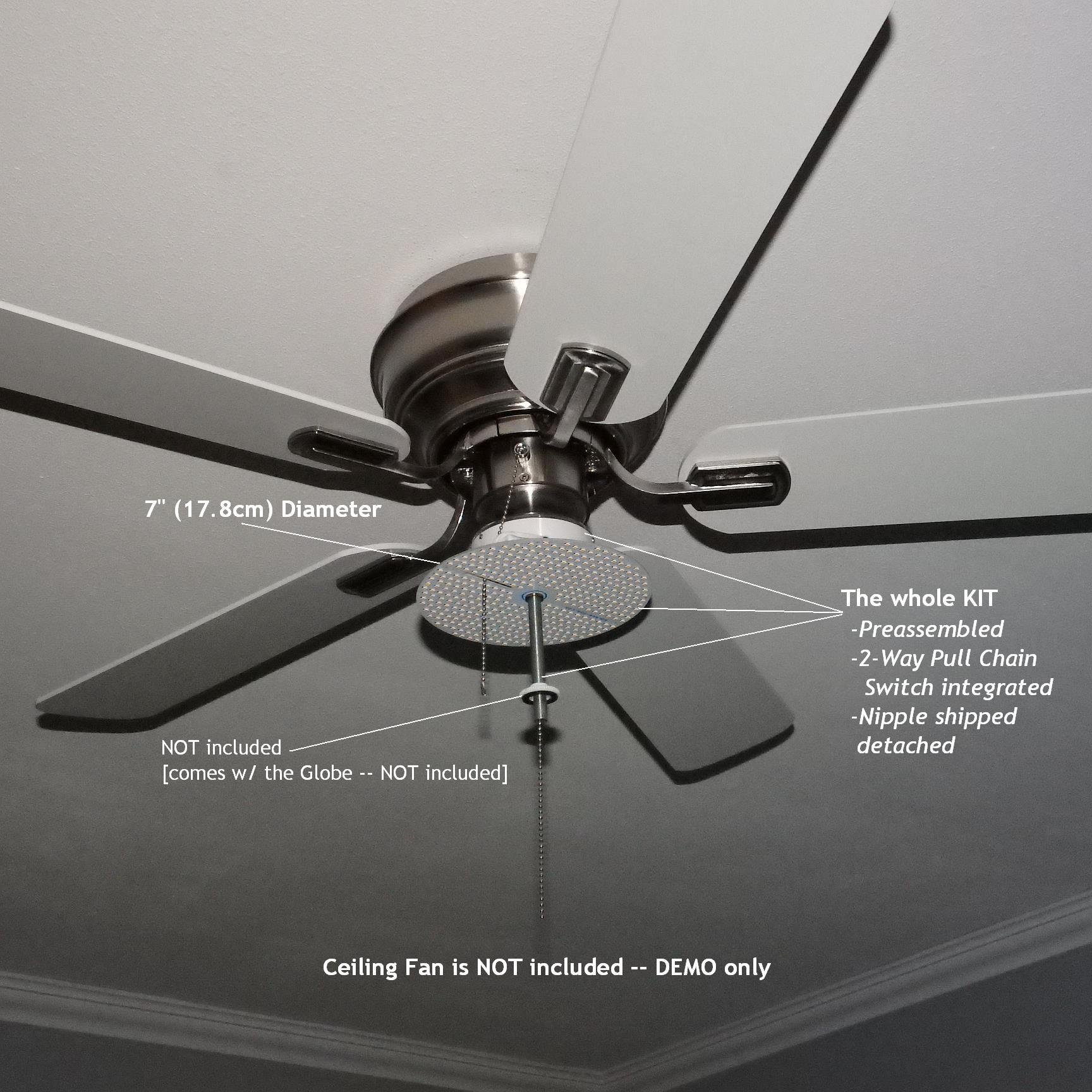 7'' Dia. WARM WHITE (4000K) LED Panel KIT for Ceiling Fan Light - PULL-CHAIN SWITCH INTEGRATED. P/N: SPTL420LMF7-CFLK-4K by SOLARA-USA