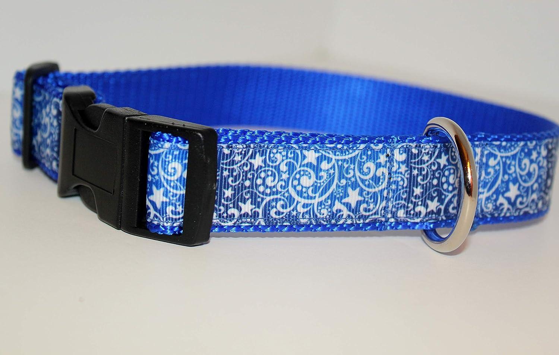 puppy collar Shooting stars dog designer dog collar blue collar white shooting stars stars collar