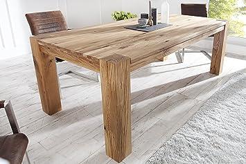 GroBartig DuNord Design Esstisch Holz Massiv Eiche Massivholz Tisch Esszimmer  Holztisch 160cm CARVALHO