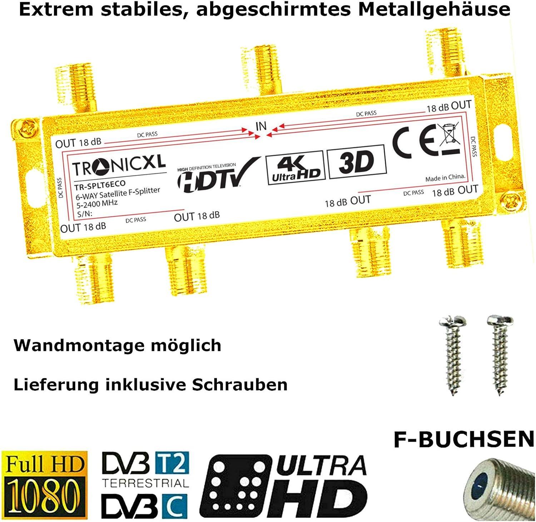 TronicXL 4K Satellite Splitter 6-Way BK Splitter 3D HD TV ...