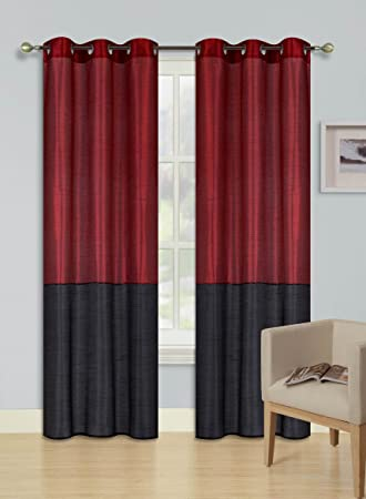 Burgundy And Black Curtains.Amazon Com Gorgeoushomelinen Eid 1 Burgundy Black Color