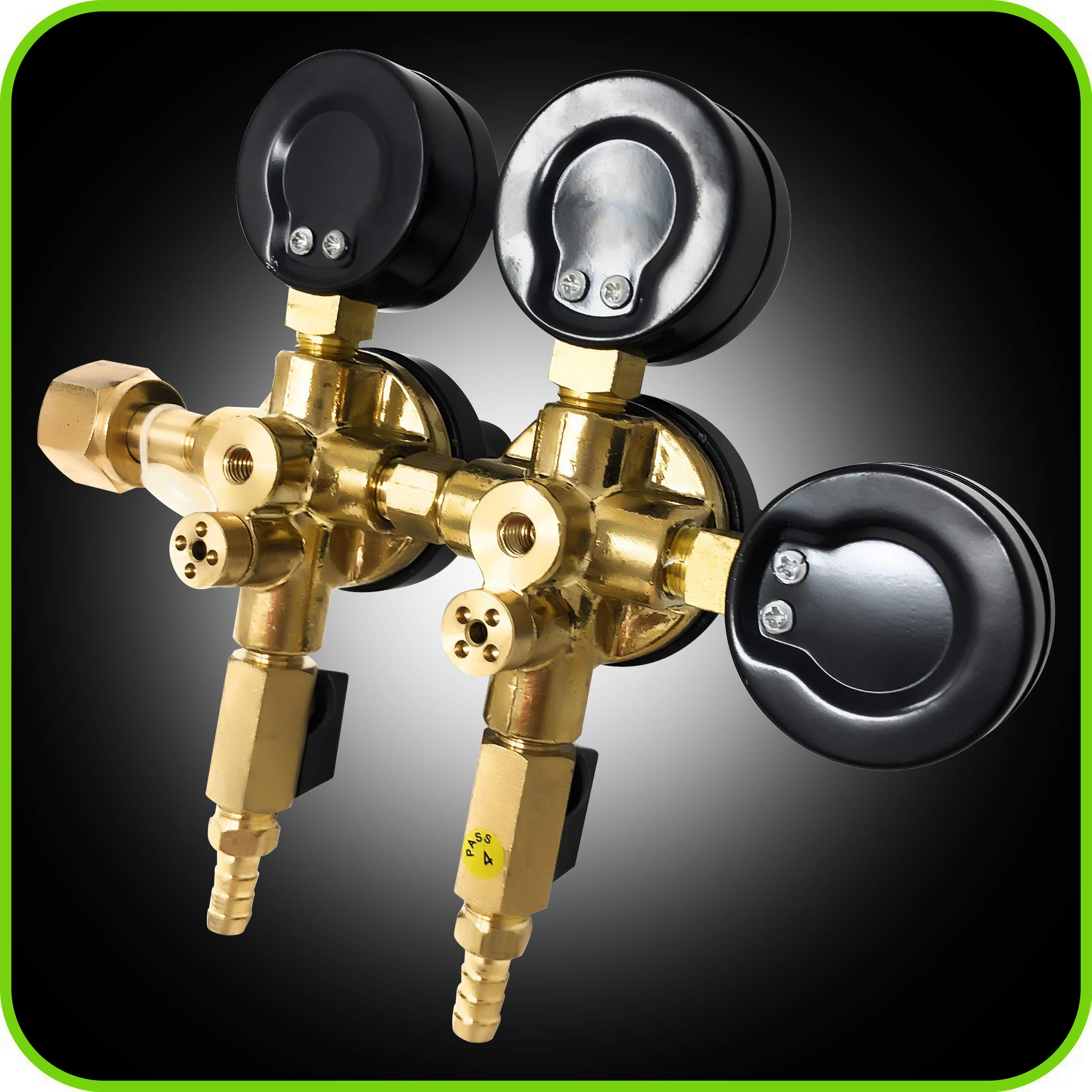 Co2 Beer Regulator Two Product Dual Pressure Kegerator Heavy Duty Features T-Style Adjusting Handle - 0 to 60 PSI-0 to 2000 Tank Pressure CGA-320 Inlet w/ 3/8'' O.D. Safety Discharge 50-55 PSI by Manatee (Image #7)