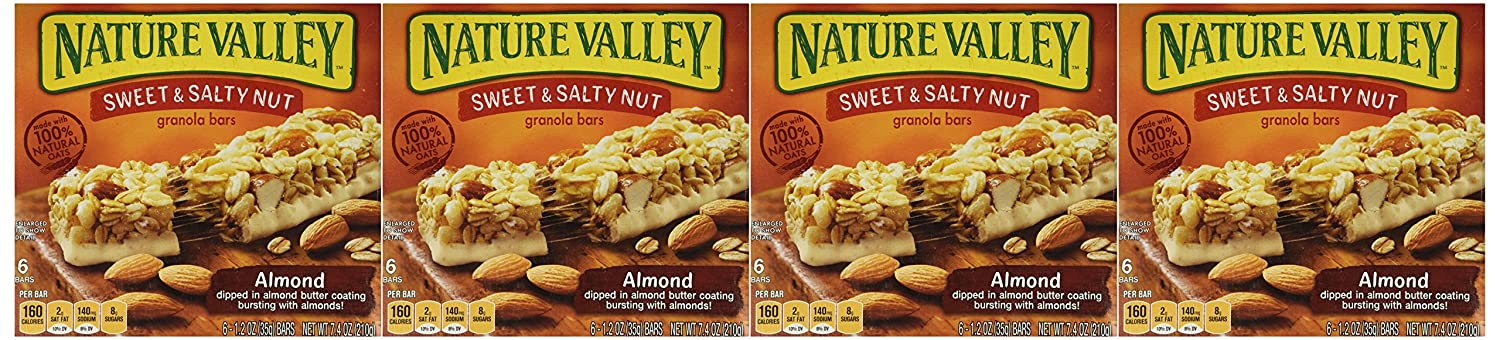 Nature Valley, Sweet & Salty Almond Granola Bars, 7.4oz Box (Pack of 4)