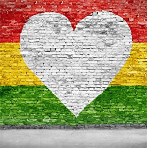 CSFOTO 8x8ft Brick Wall Love Reggae Backdrop White Heart Shaped Yellow Green Red Colourful Striped Painted Wall Photography Background Birthday Photo Vinyl Wallpaper