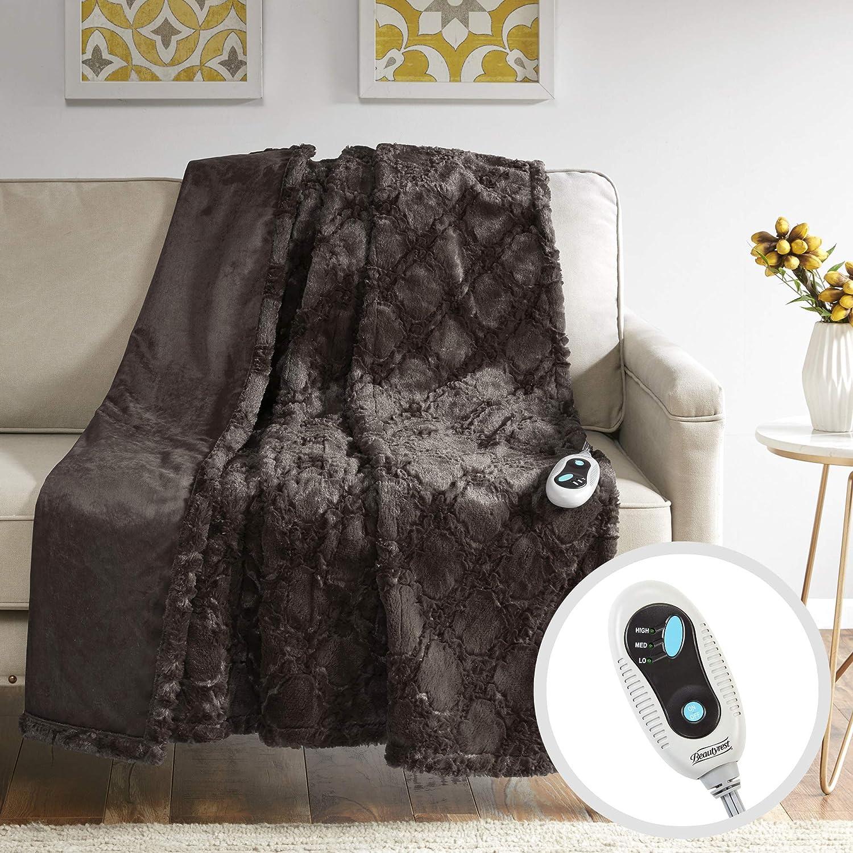 Beautyrest-chauffé brossé Longue Fourrure-Ogee Motif-127x 152,4cm-avec 3-Setting contrôleur de la Chaleur