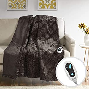 "Beautyrest Brushed Long Fur Electric Throw Blanket Ogee Pattern Warm and Soft Heated Wrap with Auto Shutoff, 50"" W x 60"" L, Chocolate"