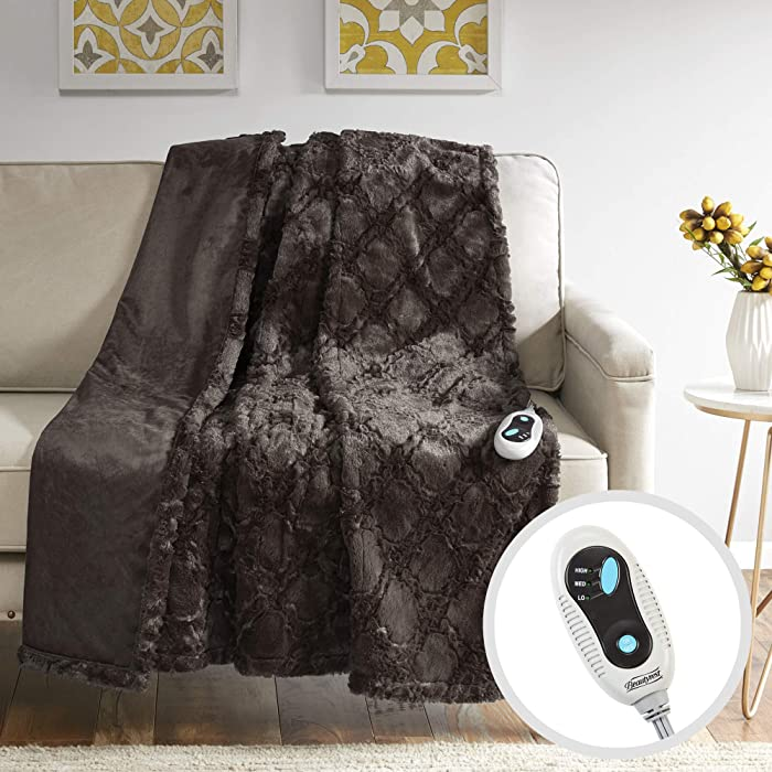 """Beautyrest Brushed Long Fur Electric Throw Blanket Ogee Pattern Warm and Soft Heated Wrap with Auto Shutoff, 50"""" W x 60"""" L, Chocolate"""