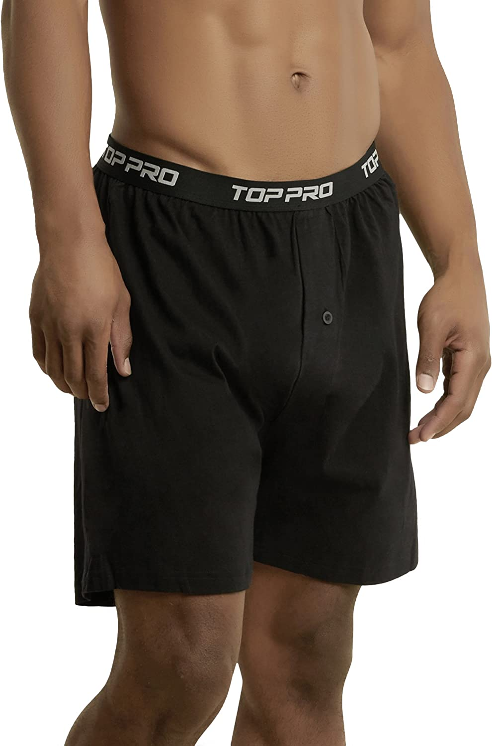 ToBeInStyle Mens Pack of Button Fly Loose Fit Solid Print Boxers