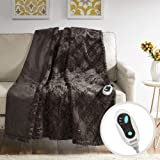 Beautyrest Brushed Long Fur Electric Throw Blanket Ogee Pattern Warm and Soft Heated Wrap with Auto Shutoff, 50x60, Chocolate