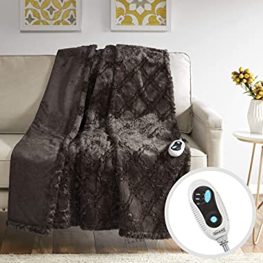Beautyrest - Heated Brushed Long Fur Throw - Ogee Pattern - 50  x 60  - Chocolate - With 3-Setting Heat Controller