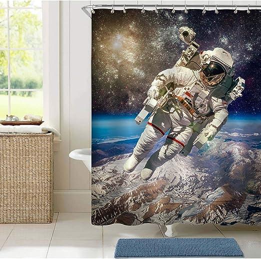 Cosmic astronauts Bath Decor Shower Curtain Design Polyester Waterproof Hooks