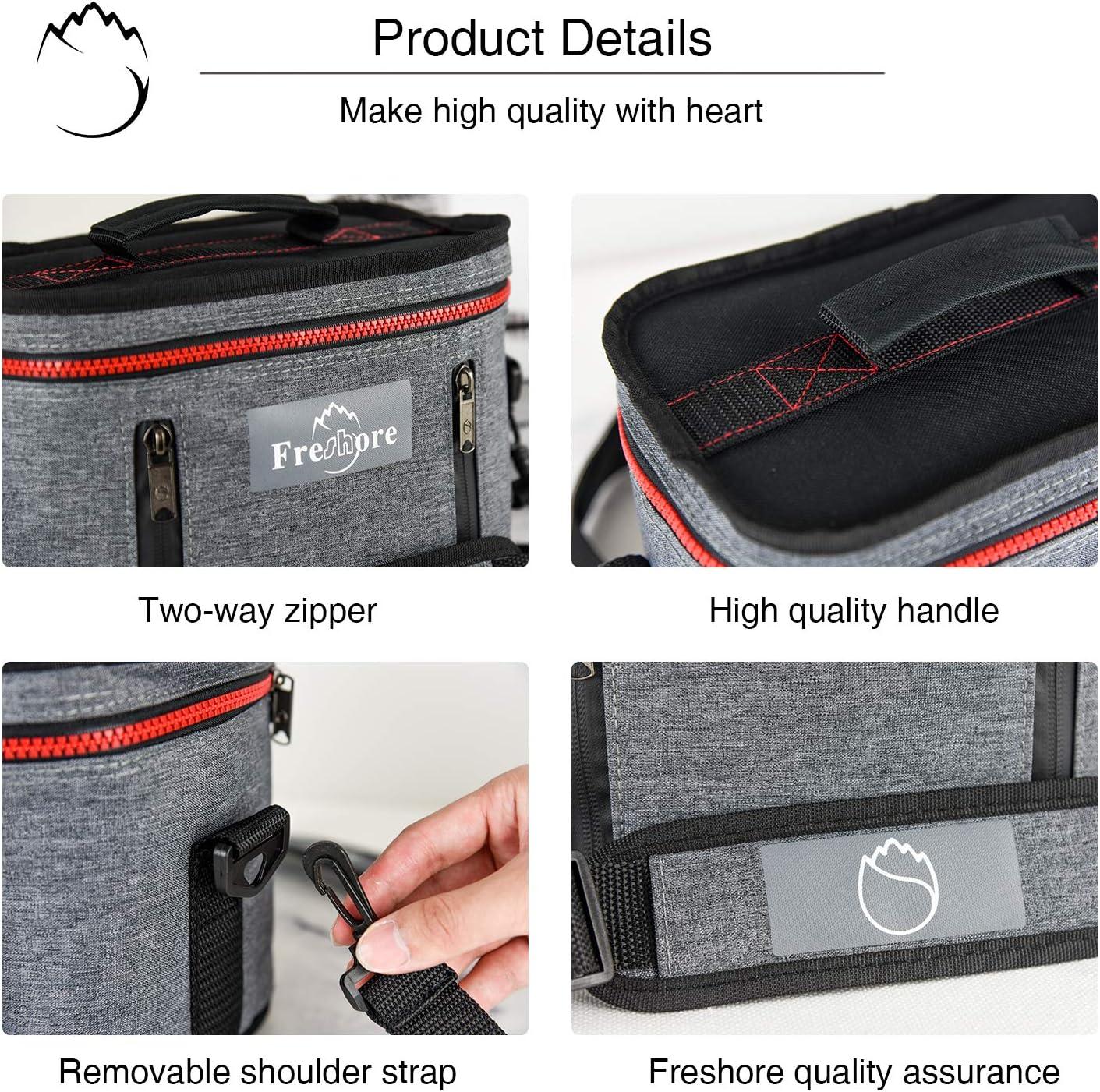 Fresho Insulated Lunch Kit Tote Slim Box Bolsas peque/ñas para mujeres//hombres 丨 Compact Storage Comidas Contenedores Ice Pack gris oscuro Crossbody con correa de hombro ajustable