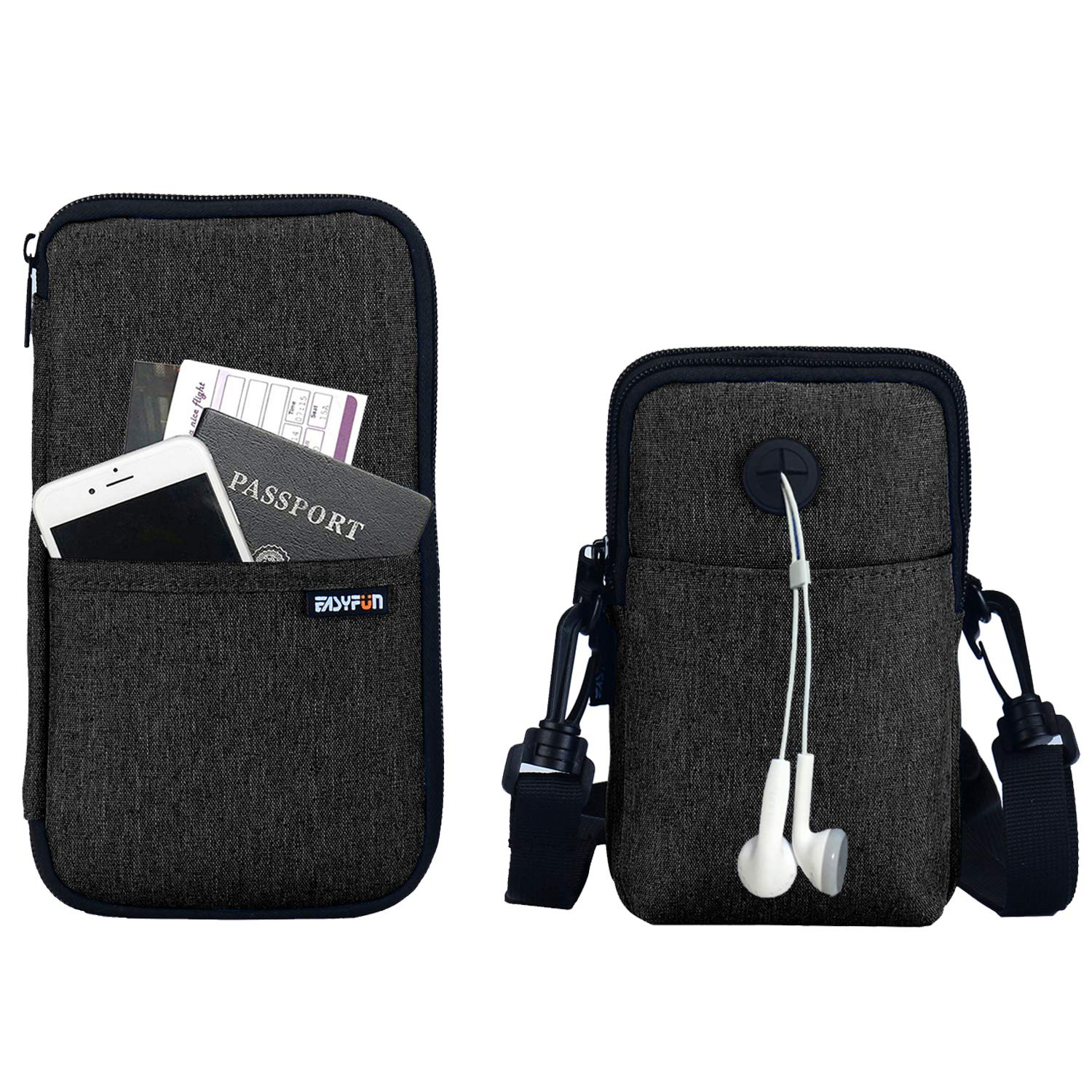 Easyfun RFID Passport Holder Cover With Neck Pouch Travel Wallet Case For Men & Women