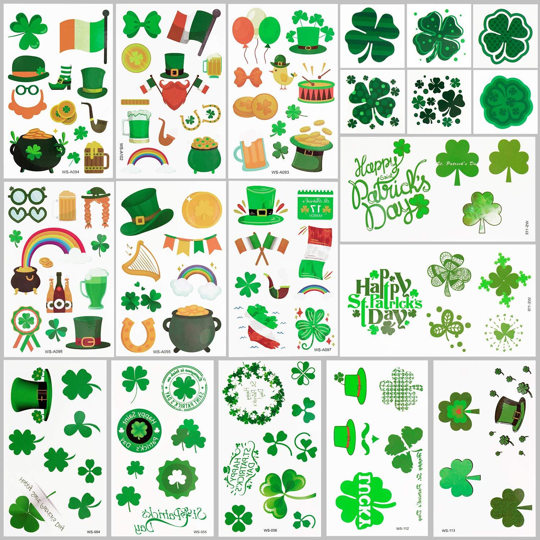 MENOLY 260 Pcs St. Patrick's Day Tattoos Shamrock Patterned Tattoos Temporary Shamrock Stickers Accessories