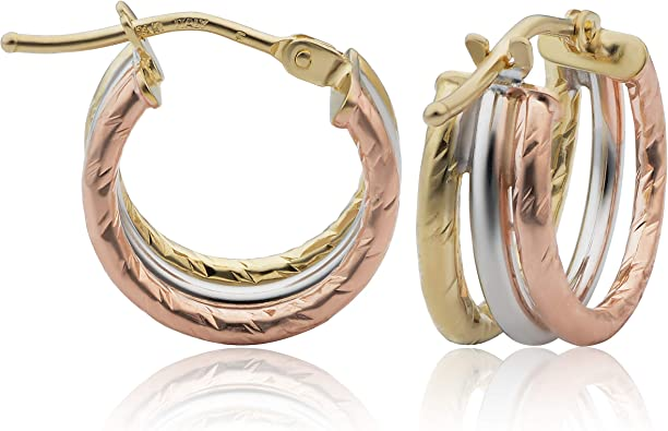 Jewelry Is Me:Great Holiday Gifts Him or Her Vintage to Modern 14k Tri Colored Gold Estate Textured Hoop Earrings