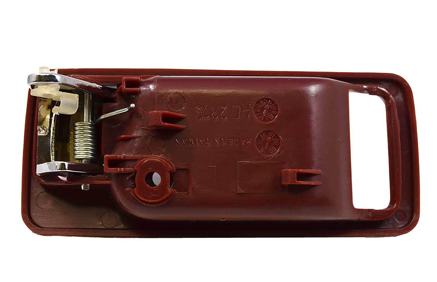 Driver Side PT Auto Warehouse HO-2379ML-FL without Power Lock Hole Red Housing with Chrome Lever Inside Interior Inner Door Handle 2-Door Coupe