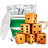 SWOOC Games - Yardzee, Farkle & 20+ Games - Giant Yard Dice Set (All Weather) with Collapsible Bucket, Lid, 5 Big Laminated S