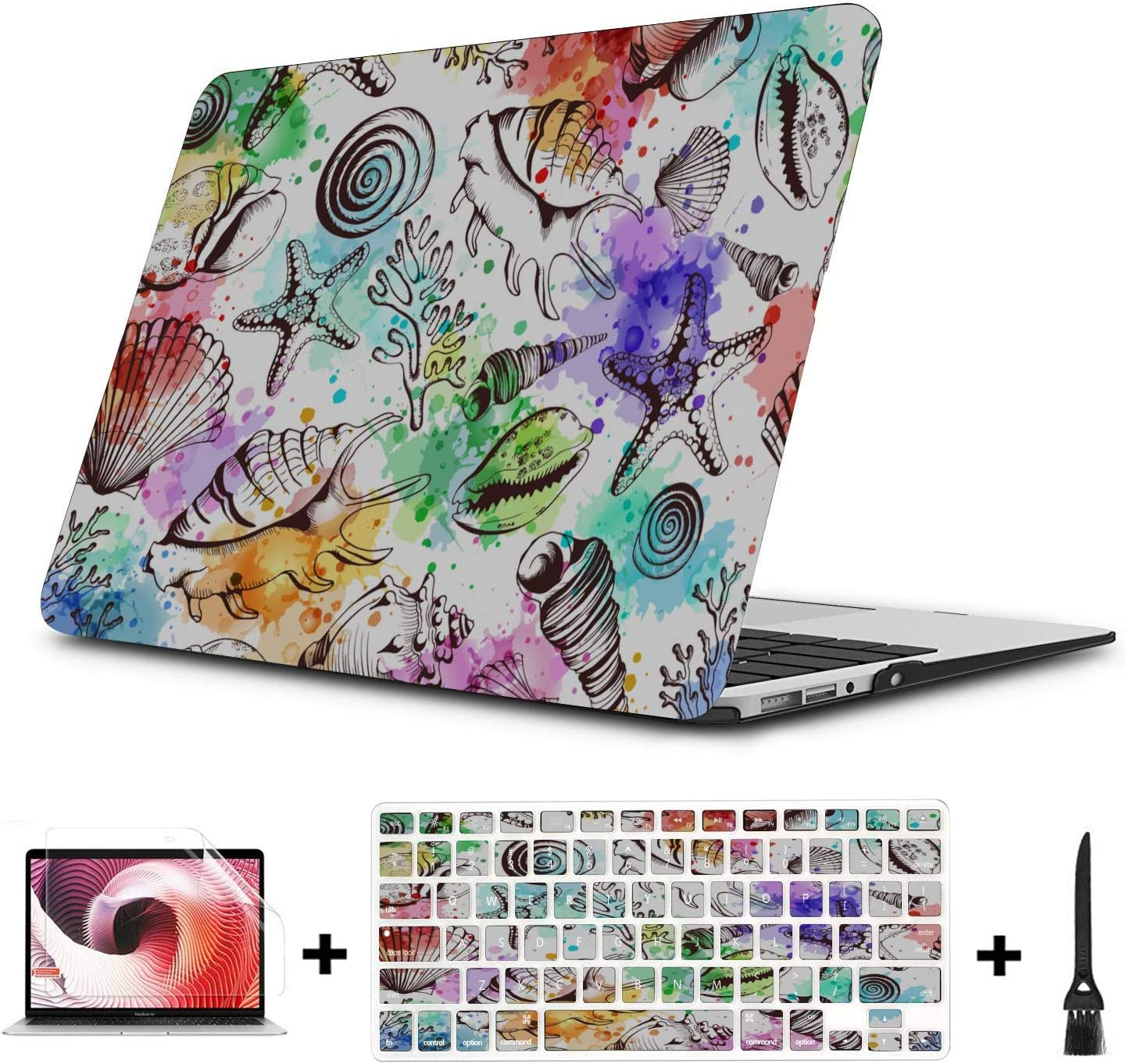 Case for Mac Summer Seaside Seashells Starfish Plastic Hard Shell Compatible Mac Air 11 Pro 13 15 MacBook Air Covers Protection for MacBook 2016-2019 Version