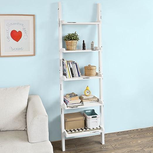 SoBuy® - Estantería de escalera de estilo retro. Librería con estantes esquineros, porta-CD, efecto usado, FRG138-W,IT: Amazon.es: Hogar