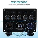 Kohree 5 Gang Rocker Switch Panel 12V Waterproof