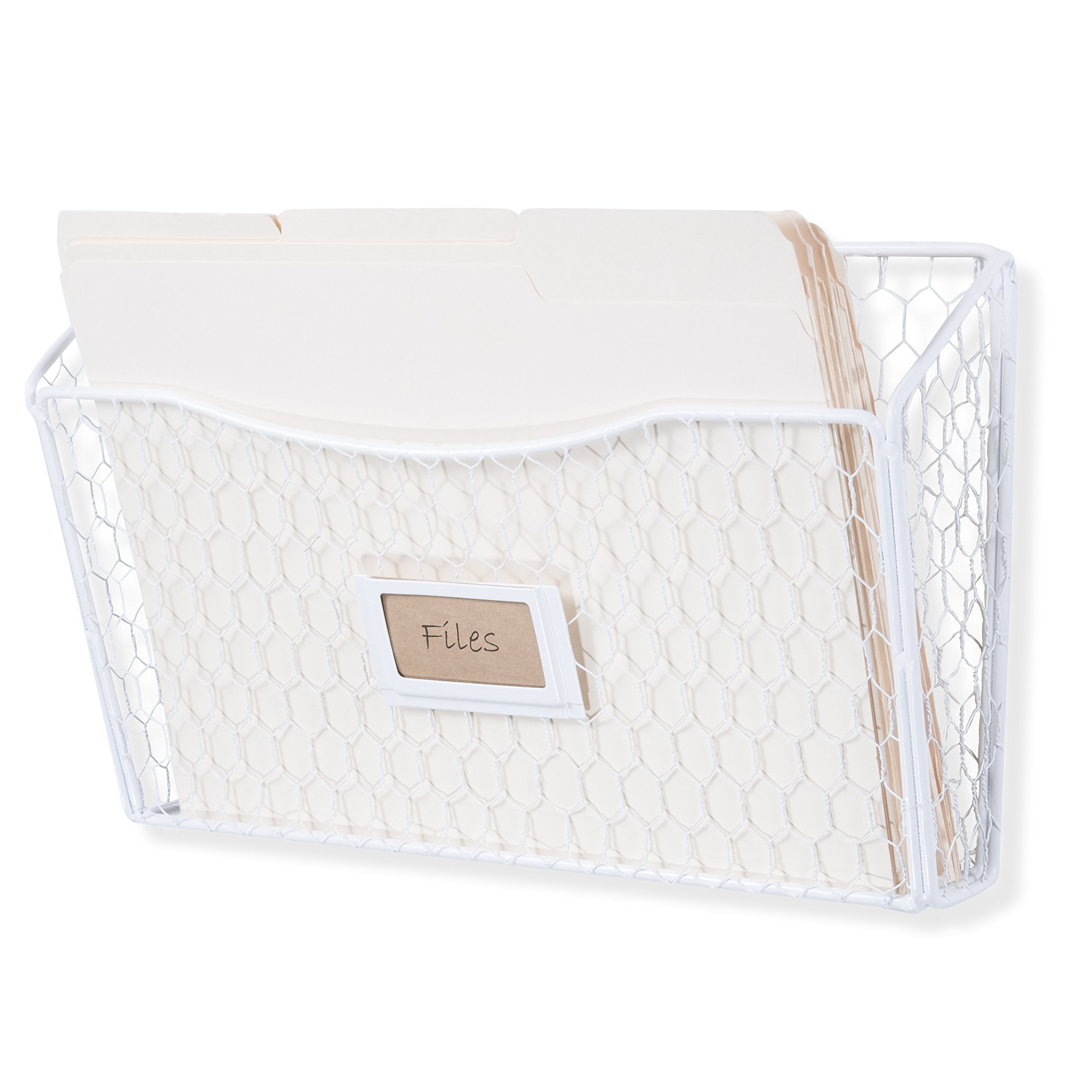 Wall35 Felic Hanging File Holder - Wall Mounted Metal Wire Rack - Office Folder Organizer with Name Tag Slot in White