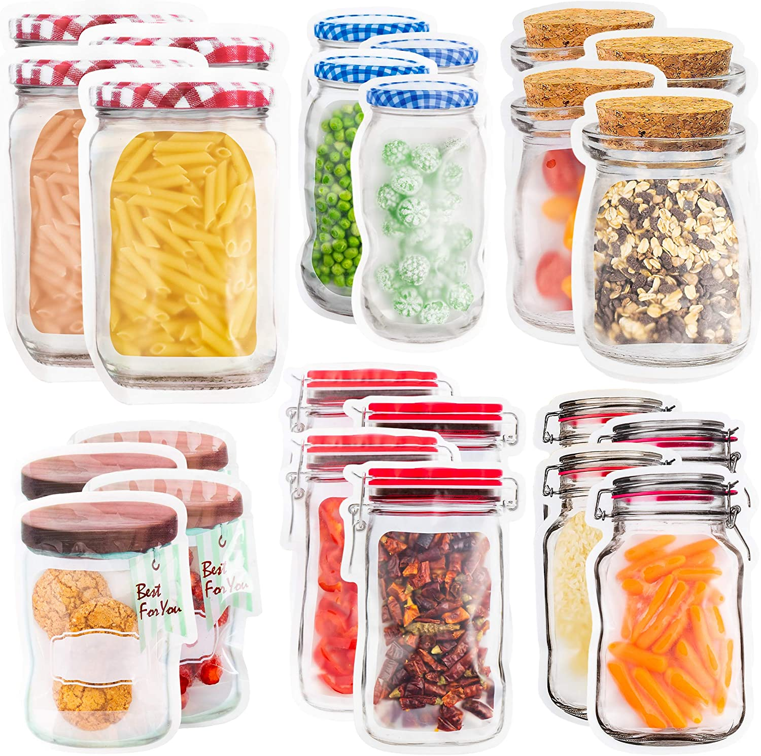 24 Mason Jar Zipper Bags Storage - for Food Snack Sandwich - Reusable Airtight Seal Food Bag Leak-Proof for Travel Camping or Kids - Reusable Resealable Ziplock Bottles Shaped Baggies