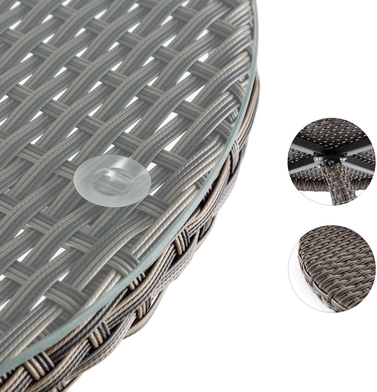 50 CMm, Vetro, Copertura in Polyrattan, Alluminio, Resistente alle intemperie blumfeldt Tabula Tavolino da Giardino Terrazzio Appoggio Cocktail Grigio Talpa