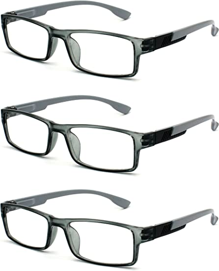 Amazon Com Eye Zoom 3 Pack Rectangle Readers Fashion Designer Plastic Frame Reading Glasses With Spring Hinge For Women Grey Strength 1 00 Health Personal Care